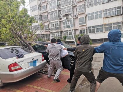 【阳光快讯】大雨过后,那些最可爱的背影,为我们排忧解困——阳光财险沧州中支理赔服务部查勘人员雨天救援被砸车辆764.png